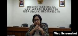 Komisioner Pengkajian dan Penelitian Komnas HAM, Sandrayati Moniaga, Kamis, 23 Juli 2020. (Tangkapan layar)