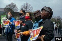 A Stop Asian Hate rally organized by Korean Americans in Duluth. (Photo by VOA reporter Wenhao Ma)