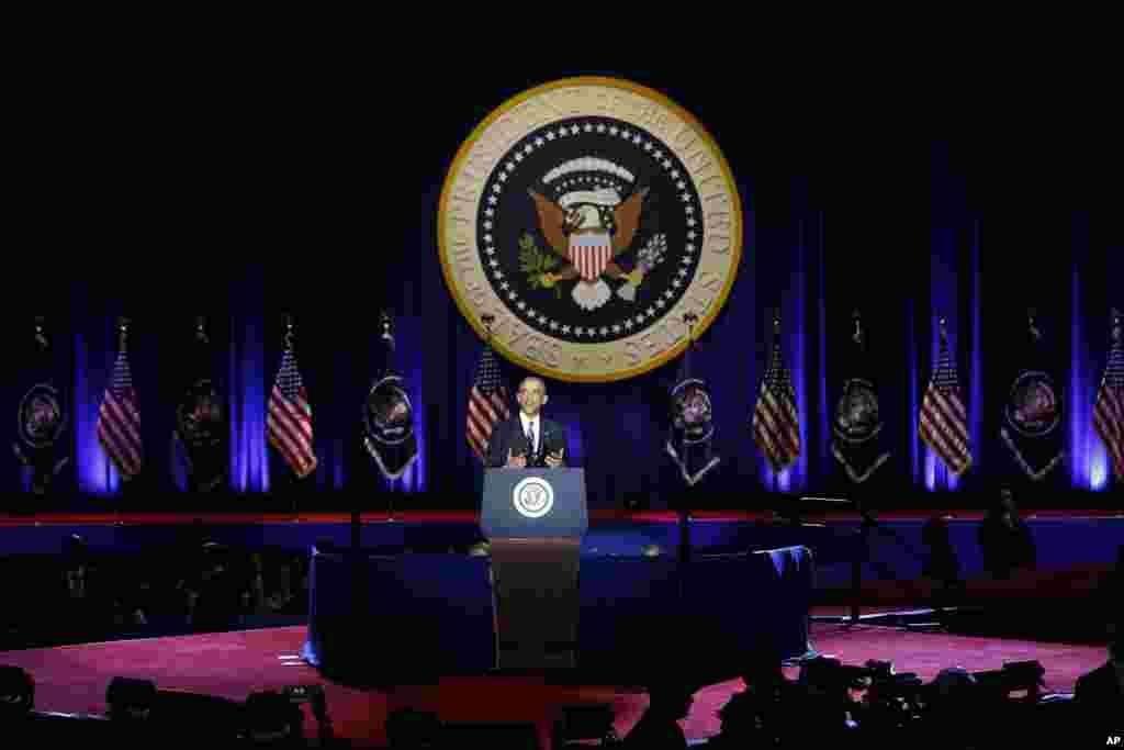 باراک اوباما در جریان آخرین خطابه اش به حیث رئیس جمهور ایالات متحده امریکا.