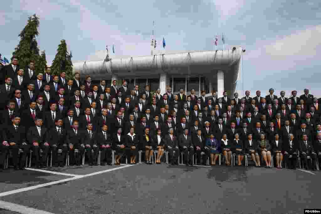 National Legislative Assembly members attend a photo session before a parliamentary session in Bangkok Aug. 21, 2014.