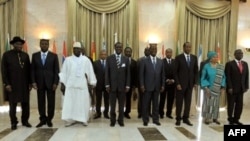 West African leaders pose for a family picture on May 3, 2012 in Dakar before a meeting of on the crises in neighboring Mali and Guinea-Bissau.