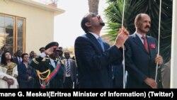 Shugaba Abiy Ahmed tare da Shugaba Isaias a yayin bude ofishin jakadancin Ethiopia a Eritrea.