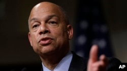 FILE - Homeland Security Secretary Jeh Johnson addresses an audience during a forum at John F. Kennedy School of Government on the campus of Harvard University, in Cambridge, Massachusetts, March 21, 2016.