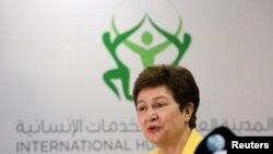 크리스탈리나 게오르기에바 유럽연합집행위원회(EC) 부위원장이 지난 1월 두바이에서 열린 인도적 원조기금 조성 컨퍼런스에서 연설하고 있다.
