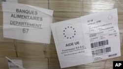 Packs of food, part of European subsidies are seen at a warehouse of the Banque Alimentaire (Food Bank) in Strasbourg, September 20, 2011.