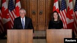 美國國務卿蒂勒森和加拿大外長弗里蘭德