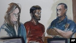Courtroom sketch shows Quazi Mohammad Rezwanul Ahsan Nafis (Center).