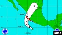 Trayectoria prevista para el huracán Patricia.