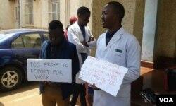 Striking doctors at Parirenyatwa Hospital.