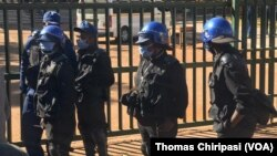 Zimbabwe Police Outside Magistrates' Courts in Harare.