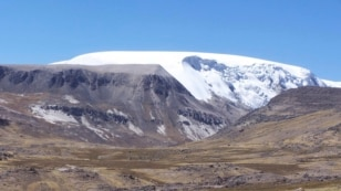 The north dome of the Quelccaya Ice Cap in Peru is seen in this handout photo from Ohio State University taken in 2003.