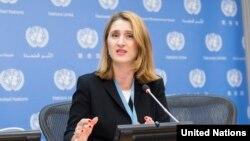 유엔 산하 '강제적 비자발적 실종에 관한 위원회'의 수엘라 자니나 위원장이 지난해 10월 유엔본부에서 기자회견을 하고 있다.