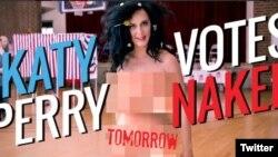 Utiliza su anatomía desnuda para promover el voto en las elecciones presidenciales en Estados Unidos.