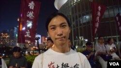 香港嶺南大學學生會會長鄭沛倫。(美國之音湯惠芸拍攝)