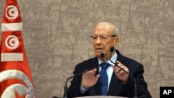 Newly elected Tunisian President Beji Caid Essebsi gives a press conference in Tunis, Dec. 24, 2014.