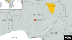 尼日利亞地理位置圖。