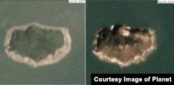 함박도를 촬영한 2017년 6월21일자(왼쪽) 위성사진과 올해 9월24일자 위성사진. 새로운 시설이 들어선 흔적이 섬 곳곳에서 포착됐다. 사진제공=Planet Labs Inc.