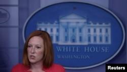 美國白宮發言人莎琪2021年8月23日主持記者會(路透社)