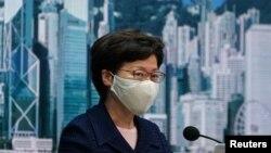 香港特首林鄭月娥在記者會上。 (2020年7月31日)
