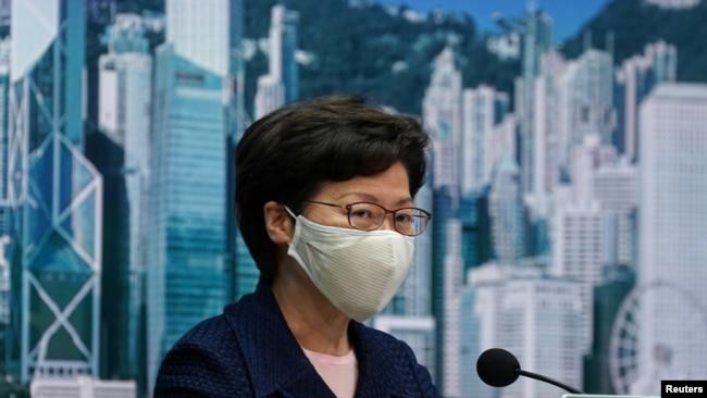 资料照片:香港特首林郑月娥在记者会上。(2020年7月31日)