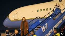 US Secretary of State Hillary Rodham Clinton on her arrival, in Sarajevo, Bosnia, Monday, 11 Oct 2010