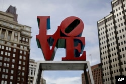 "Robert Indiana sculpture, ""Love,"" in Philadelphia."