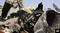 The wreckage of the Dana Air plane crash in Lagos, Nigeria, June 6, 2012.
