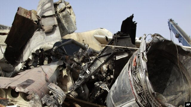 The wreckage of the Dana Air plane crash in Lagos, Nigeria, June 6, 2012.
