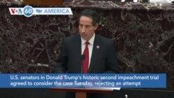 VOA60 America - Trump impeachment trial continues