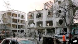 Imagem de um edifício atacado pelo al-Shabab em Mogadíscio, Somália. Foto tirada a 1 de Março, 2019.