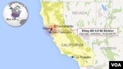 Bản đồ trận động đất ở Napa.