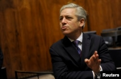 FILE - Britain's John Bercow, Speaker of the House of Commons, speaks during a meeting in the Finnish parliament in Helsinki, Oct. 8, 2012.