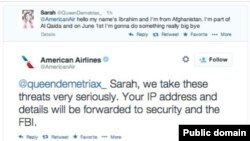 Tweet berisi ancaman dari seorang anak perempuan berusia 14 tahun kepada American Airlines.