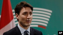 Thủ tướng Canada Justin Trudeau họp báo kết thúc hội nghị thượng đỉnh G7 tại Taormina, Ý, ngày 27/5/2017.