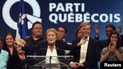 4일 연설 중인 폴린 마로이스 캐나다 퀘백당 대표.