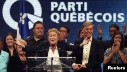 Bà Pauline Marois phát biểu mừng chiến thắng tại Quebec, ngày 4/9/2012