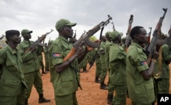FILE - South Sudanese rebel soldiers raise their weapons at a military camp in the capital Juba, South Sudan, Thursday, April 7, 2016.