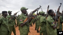 FILE - South Sudanese rebel soldiers raise their weapons at a military camp in the capital Juba, South Sudan, April 7, 2016. First Vice President Riek Machar returned with a large group of his heavily armed followers. Observers say South Sudan's new transitional government exists in a sea of weapons brandished by both sides.