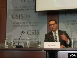 Ely Ratner, senior fellow of China Studies at Council on Foreign Relations, spoke at the Seventh Annual CSIS South China Sea Conference, 7/18/2017. (Photo by VOA Li Ya)
