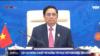 Thủ tướng Việt Nam Phạm Minh Chính phát biểu trực tuyến tại Hội nghị Cấp cao Đông Á, ngày 27/10/2021. Photo Chụp từ đài VTV.