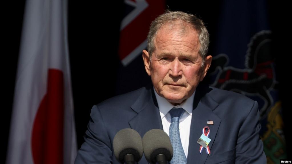 Cựu Tổng thống Mỹ George W. Bush phát biểu trong một sự kiện tưởng niệm các vụ tấn công ngày 11 tháng 9 tại Khu tưởng niệm Quốc gia Chuyến bay 93 ở Stoystown, bang Pennsylvania, Mỹ, ngày 11 tháng 9, 2021.