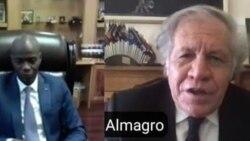 Luiz Almagro, Sekretè Jeneral l OEA, adwat;- Prezidan Jovenel Moise, agoch.
