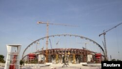 A view of the construction work at the Khalifa International Stadium in Doha, Qatar, March 26, 2016. Workers in Qatar renovating a 2022 World Cup stadium have suffered human rights abuses two years after the tournament's organizers drafted worker welfare standards in the wake of criticism, Amnesty International said.