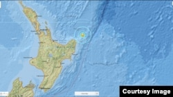 A USGS National Earthquake Information Center map shows seismic activity around the area off the coast of New Zealand where a powerful earthquake struck Friday, Sept. 1, 2016.