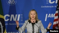 La secretaria de Estado, Hillary Clinton, se reunió con su homólogo brasileño Antonio Patriota.