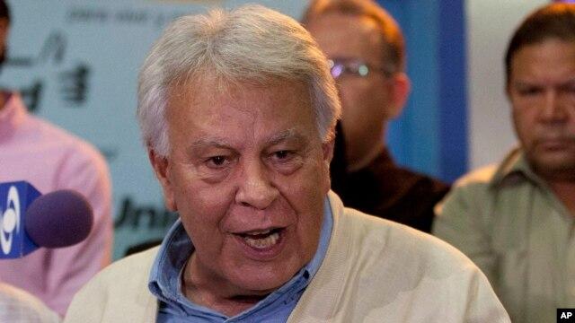 """Felipe González dijo haber regresado """"triste y preocupado"""" por la situación que se vive en Venezuela."""