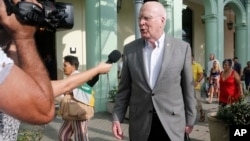 U.S. delegation leader Sen. Patrick Leahy (D-Vt.) talks with reporters as he leaves the Hotel Saratoga in Havana, Cuba, Jan. 17, 2015.