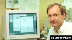 FILE - Former physicist Tim Berners-Lee invented the World-Wide Web as an essential tool for High Energy Physics (HEP) at CERN from 1989 to 1994.