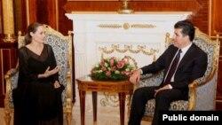 Jolie li Hewlêrê bi Barzanî re civîya, Yekşem 16'ê Îlona 2012.