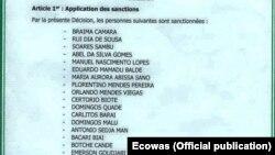 Lista de guineenses alvo de sanções